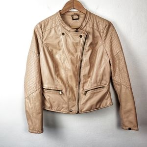 JOU JOU Tan Faux Vegan Leather Moto Bomber Jacket